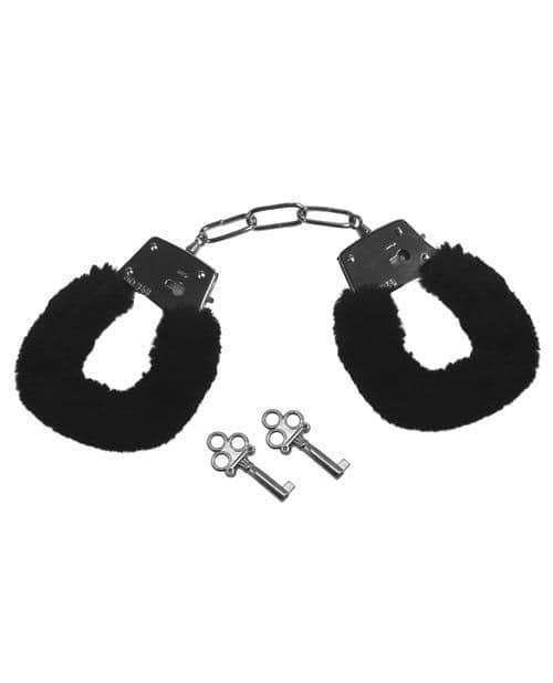 Sex & Mischief Furry Handcuffs - Black - Sportsheets International - Climactic Adventures