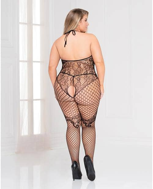 Seamless Floral & Net Pattern Open Crotch Bodystocking Black Qn - Seven 'til Midnight Costume - Climactic Adventures