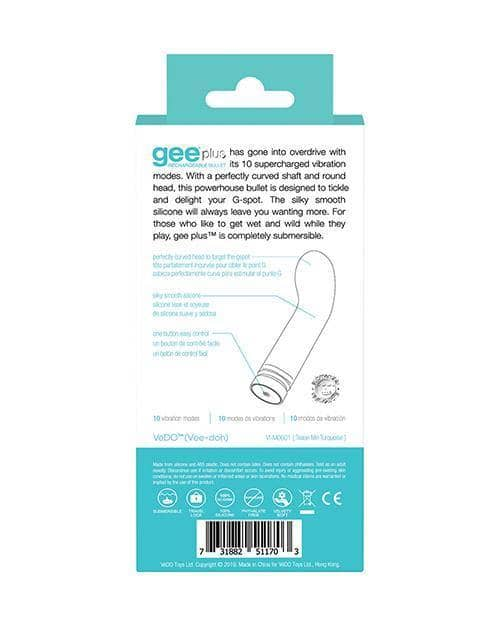 Vedo Gee Plus Rechargeable Vibe - Tease Me Turquoise