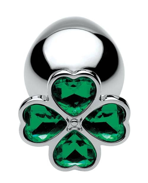 Bootysparks Lucky Clover Gem Anal Plug Large - Silver - Climactic Adventures