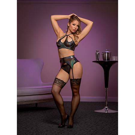 Magic Silk Oil Slick Halter Bra, Garter & Panty Set Silver Queen Size - Magic Silk - Climactic Adventures