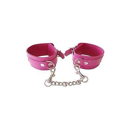 Plain Leather Wrist Cuffs - PINK - Rouge Garments LTD. - Climactic Adventures