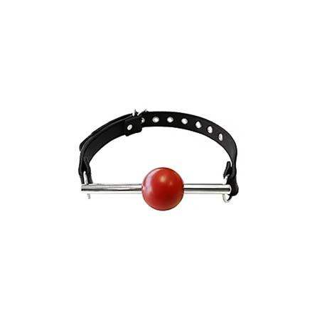 Ball Gag - BLACK with Removable RED Ball and Stainless Steel Rod - Rouge Garments LTD. - Climactic Adventures