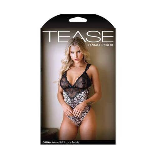 TEASE Lorena Animal Print and Lace Teddy S-M