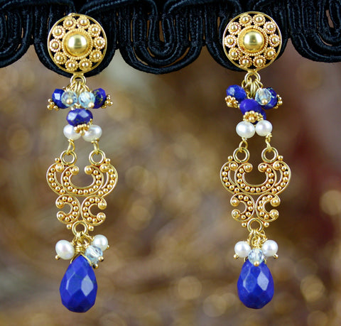 Aditi Earrings - 18K Solid Gold Post w/ Lapis Lazuli, Pearls