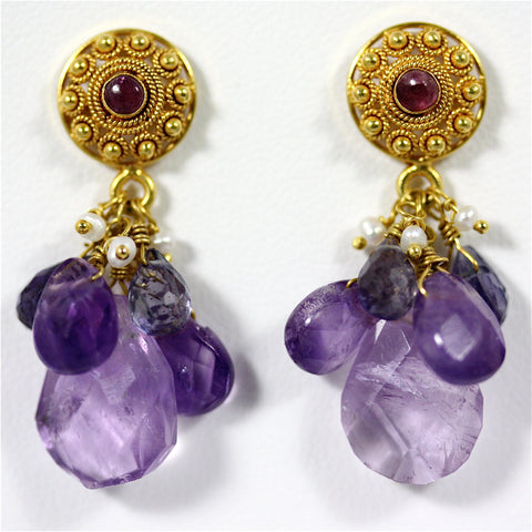 Annapoorna Earrings - 18 Karat Gold Post Earrings, Filigree, Amethyst, Pearls