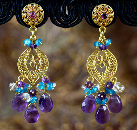 Riya Earrings - 18K Gold, Amethyst, Aquamarine, Apatite