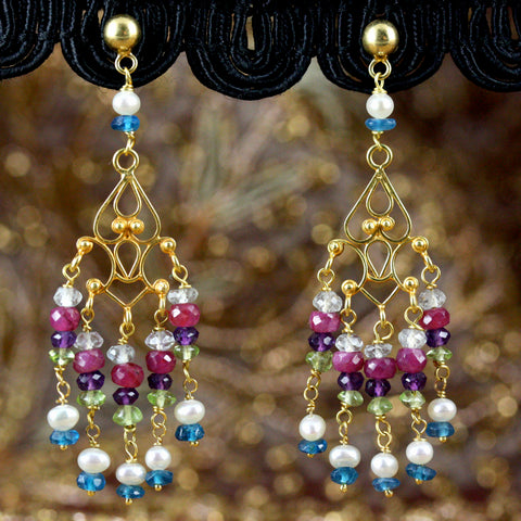 Sahana Earrings - 18K Solid Gold Dangle, Ruby, Amethyst, Peridot, Pearls