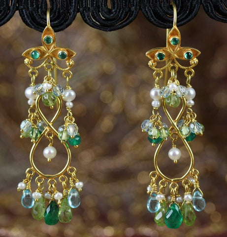 Prithvi Earrings - 18K Solid Gold Dangle Earrings, Ornate Floral Earwire, Emerald. Pearls, Peridot