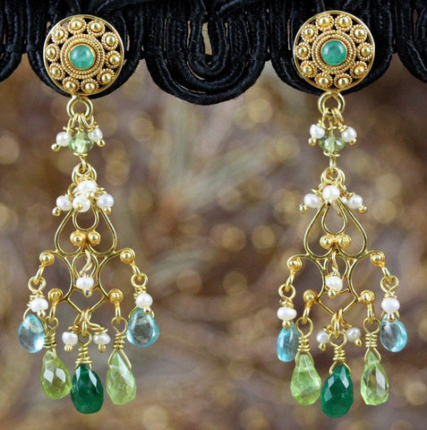 Tara Earrings - 18K Solid Gold Post Earrings w/ Ornate Dangle. Emerald, Peridot, Aquamarine, Pearls
