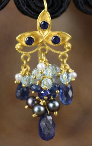 Chamunda Earring - 18K Solid Gold Dangle, Ornate Floral Ear Wire, London Blue Topaz, Kyanite, Pearls
