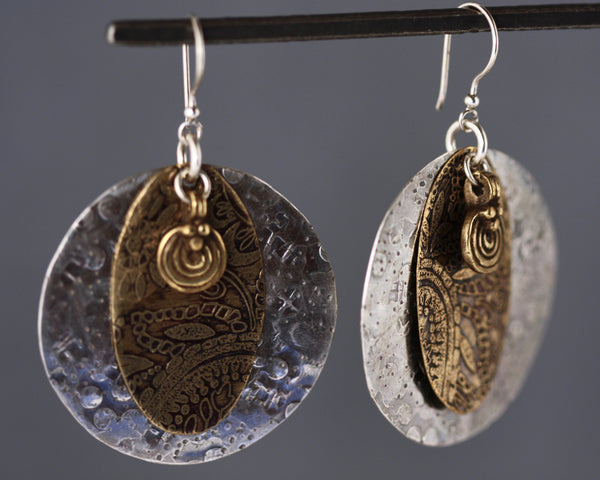 Persephone Earrings - Mixed Metals, Round