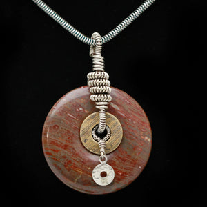 Jasper Necklace, Silver Wire Wrap - STONE CHOICES
