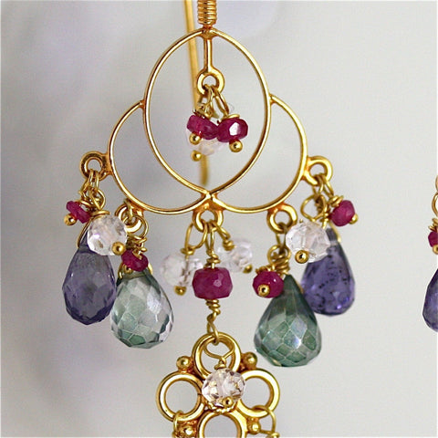 Katayani Earring - 18 Karat Solid Gold Chandelier, Ruby, Iolite, Green Quartz, White Topaz
