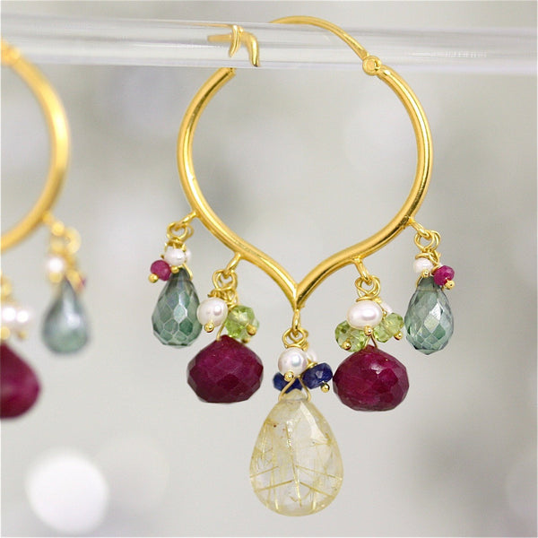 Saraswati Earring - 18 Karat Solid Gold Hoop, Rutilated Quartz, Ruby, Peridot, Pearls