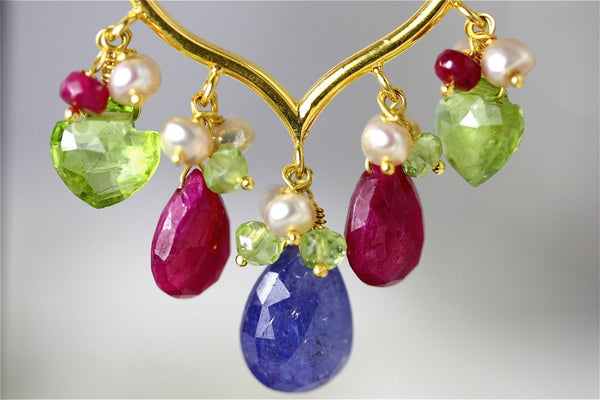Lakshmi Earrings - 18 Karat Soiid Gold Hoop, Tanzanite, Ruby, Peridot, Pearls