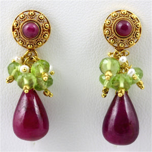 Kali Earrings - 18 Karat Solid Gold Posts, Ruby, Peridots, Pearls, Filigree