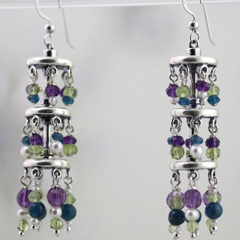 Waterfall Earrings - Silver, Amethyst, Peridot, Pearls, Apatite - LONG