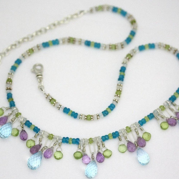 Cali Necklace - Silver, Topaz, Amethyst, Peridot