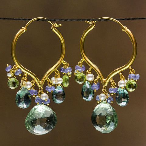 Guyatri Earrings - 18 Karat Solid Gold Hoop, Green Amethyst, Quartz, Peridot, Pearls