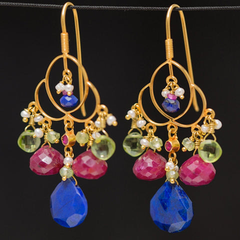 Mhalsa Earrings - 18K Solid Gold Chandelier, Lapis Lazuli, Ruby, Peridot and Pearls