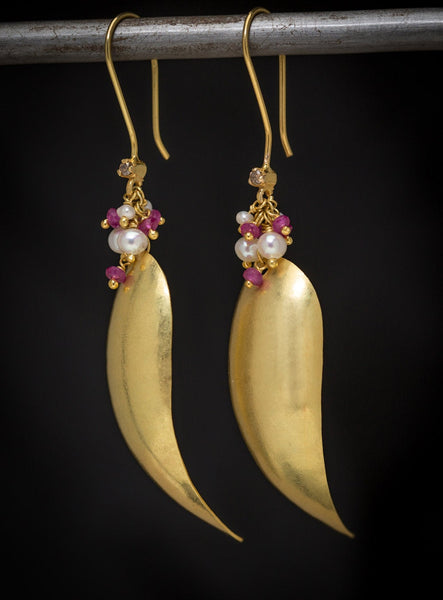 Rani Earrings - 18K Solid Gold Dangle, Sapphire, Pearls, Diamond Accents