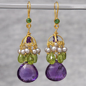 Devi Earrings - 18K Solid Gold Dangle, Amethyst, Peridot, Pearls