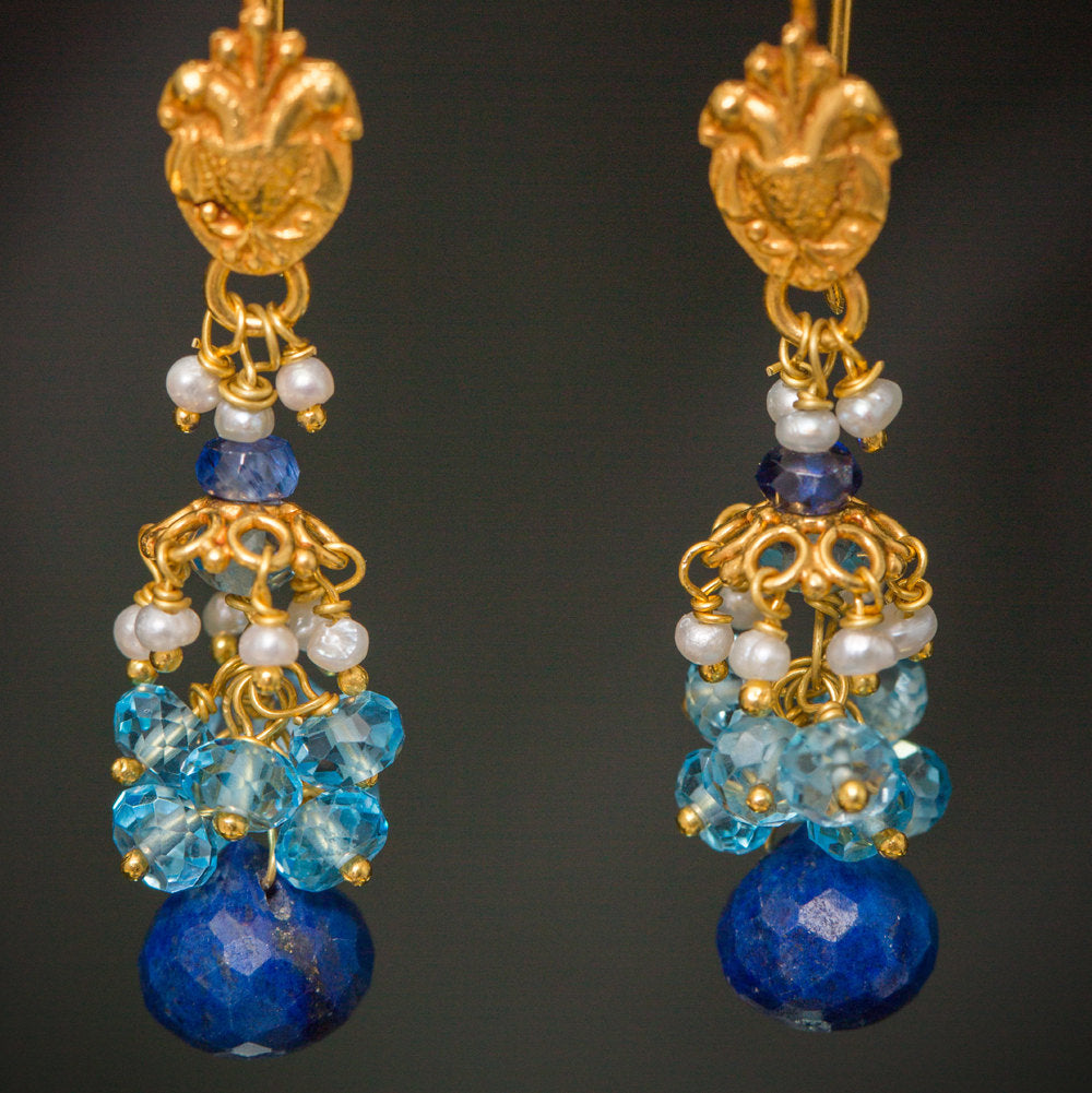 Aparna Earrings - 18K Solid Gold Dangle, Floral Motif, Lapis, Topaz, Pearls