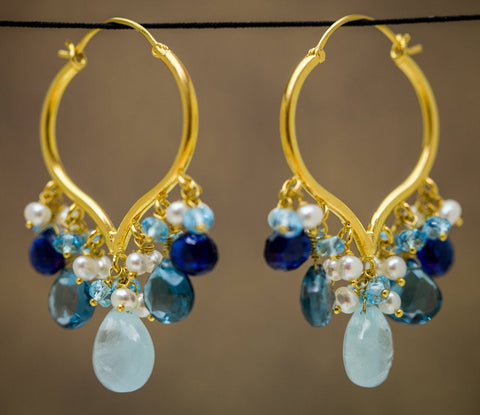 Parvati Earrings - 18 Karat Solid Gold Hoops, Aquamarine, Topaz, Kyanite, and Pearls