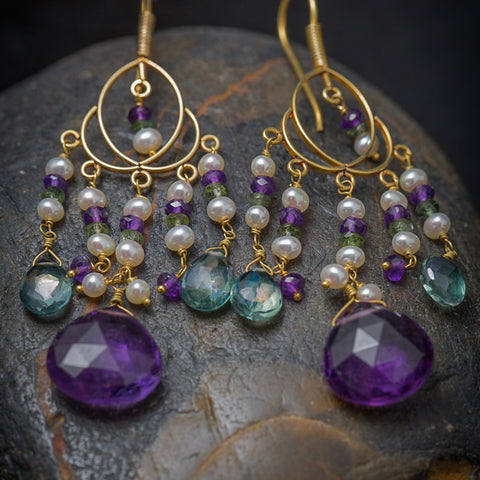 Sati Earrings - 18K Solid Gold Chandelie, Amethyst, Green Quartz, Pearls