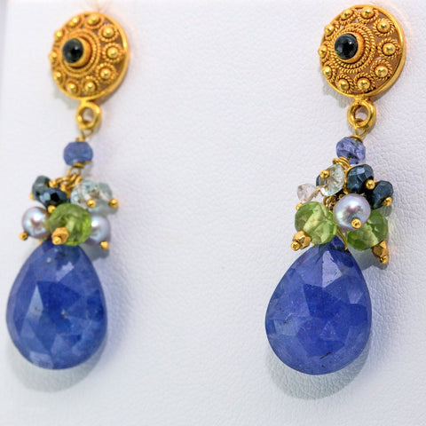 Indira Earrings - 18K Solid Gold Post, Tanzanite, Topaz, Peridot, Pearls