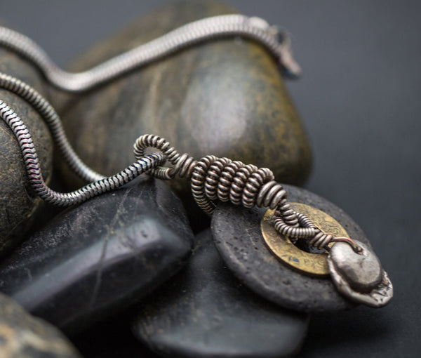 Pele Necklace - Silver, Wire Wrap, Lava, Bronze