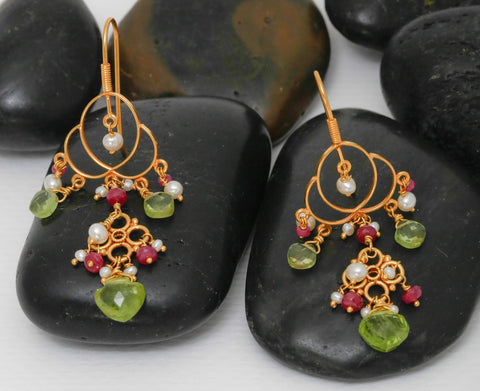 Kamala Earrings - 18K Solid Gold Chandelier, Peridot, Ruby, Pearl