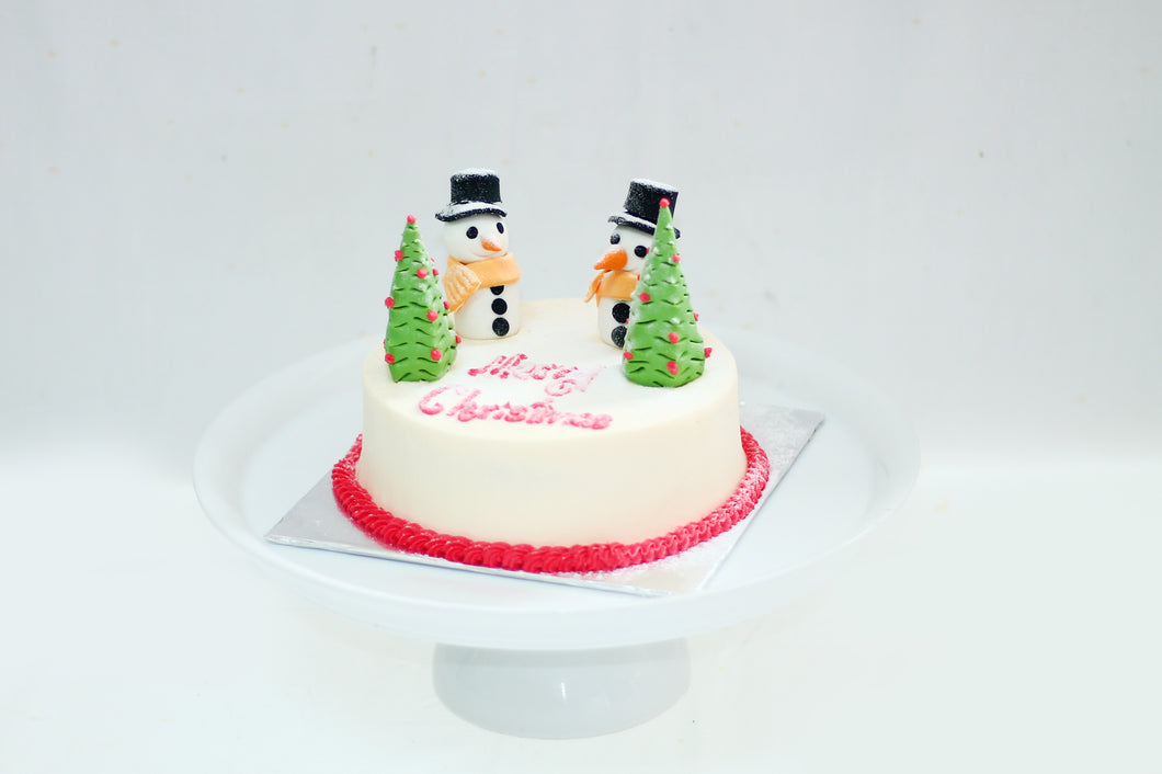 Christmas Snowman Ribbon Cake