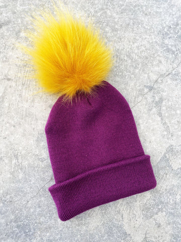 Purple Knit Hat w/ Yellow Fur PomPom