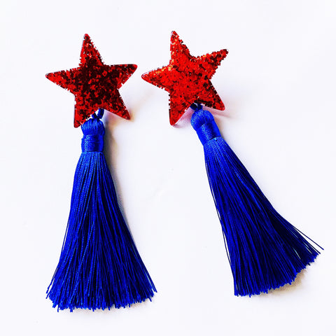 Star Earrings Red & Blue