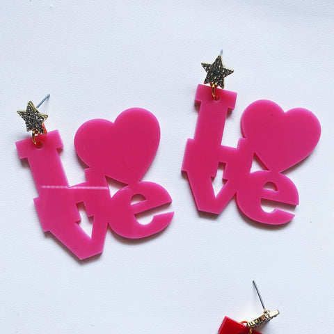Love Earrings Pink