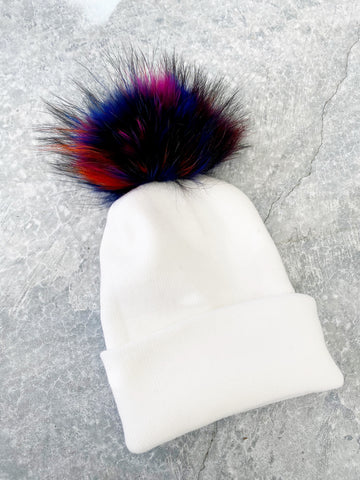 White Knit Hat w/ Fur Rainbow PomPom