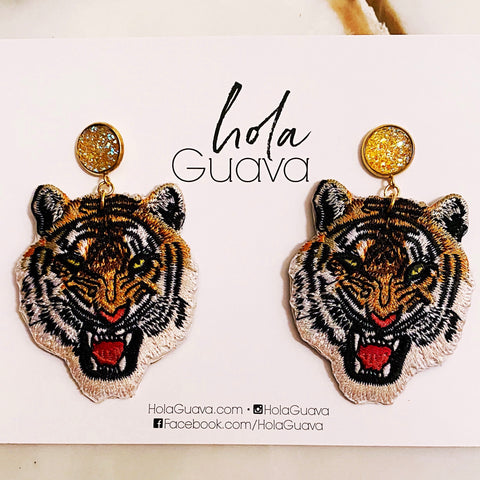 Tiger Earrings with Sparkle