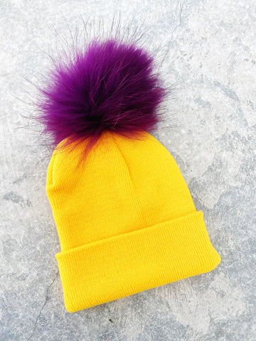 Yellow Knit Hat w/ Purple Fur PomPom