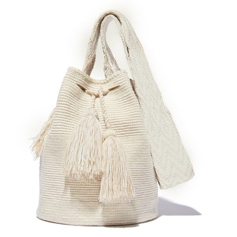 Large Ivory Bag Plain Strap