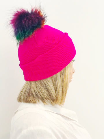 Fuchsia Knit Hat w/ Rainbow Fur PomPom