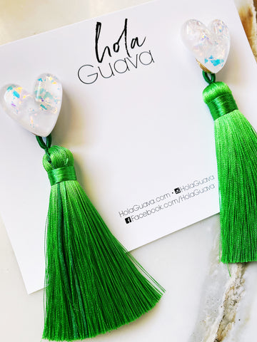 Iridescent Hearts with Green Tassels