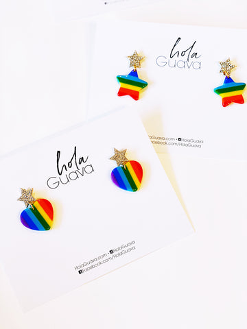 Pave Star with Rainbow Heart Earring