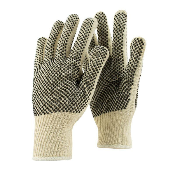 10 Gauge Cotton String Knit Glove, Two Sided Dots - Mens Size L