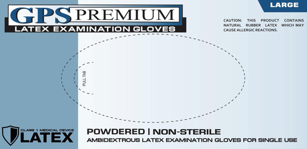 GPS Premium® Latex Disposable Gloves Light Powder - Sizes SM-XL