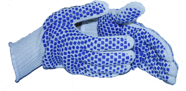 String Knit Blue Block PVC Gloves, 2 Sided Dots - 7 Gauge, Reversible