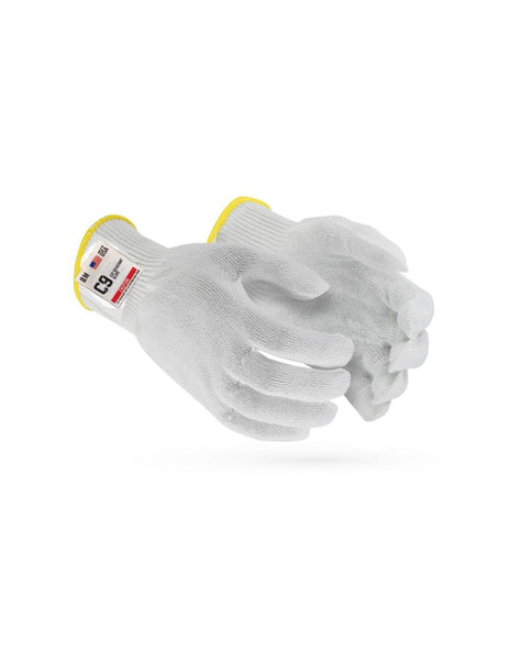 C9, 10 Gauge Cut Resistant White Glove with Hang Up Loop, ANSI Cut Level 5 - Sizes XXS-XXL