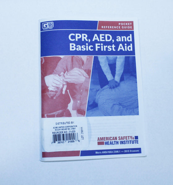 CPR, AED and Basic First Aid Booklet, Sold By Each