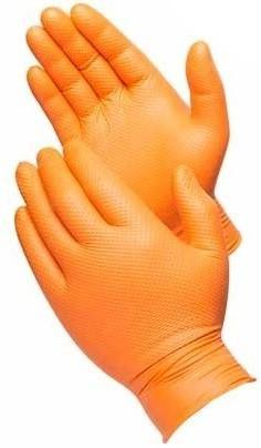 8 Mil Orange Nitrile Disposable Gloves, Powder Free, Diamond Texture, 100 Per Box, Sizes M-XXL